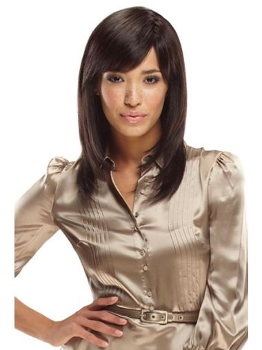 Top Shoulder Length Straight Brown With Bangs Synthetic Wigs