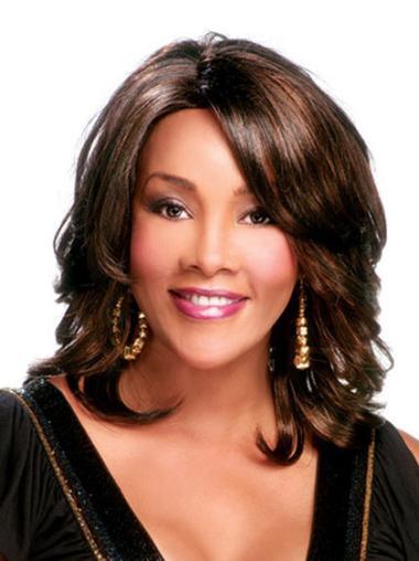 Sleek Shoulder Length Capless Brown African American Curly Hair Wigs