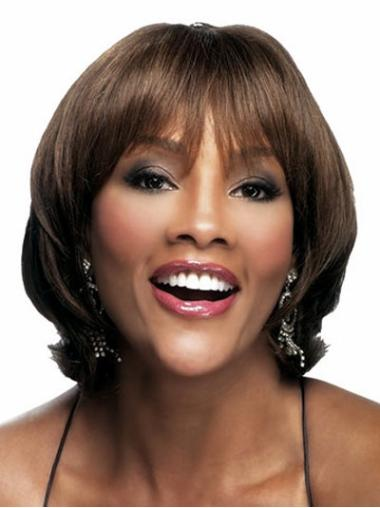Wavy Brown Capless African American Wigs With Bangs Synthetic