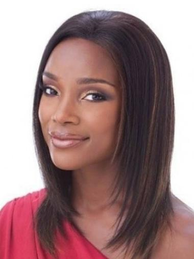 Exquisite Lace Front Shoulder Length Black People Natural Human Hair Wig