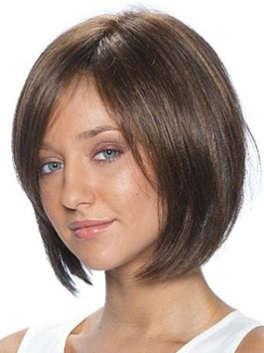 Synthetic Straight Brown Lace Front Bobs Wigs For Black Women