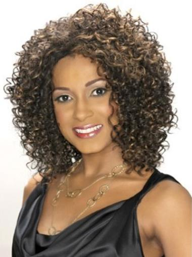 Synthetic Brown Capless Kinky Wigs For Black Women