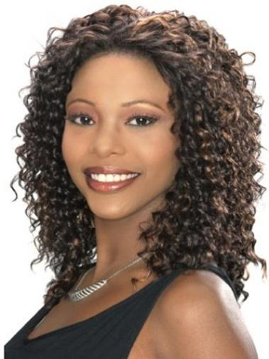 Synthetic Kinky Brown Capless African American Wig Styles