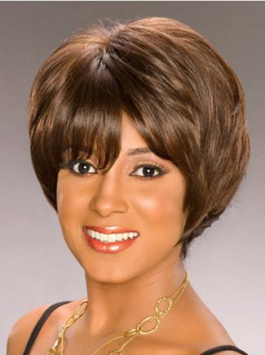 Synthetic Wavy Brown Short Bobs For African American Women