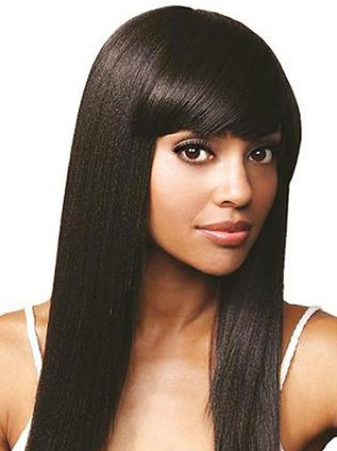 Durable Straight Lace Front Long African American Human Wigs For Black Hair