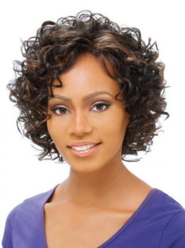 Synthetic Curly Brown African American Short Lace Front Wigs