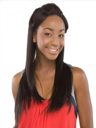 Straight Lace Front Black Stylish African American Human Wig For Black Hair