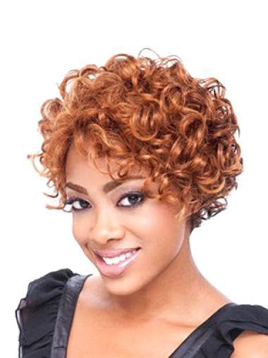 Curly Auburn African American Synthetic Lace Front Wigs
