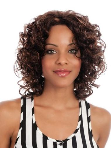 Without Bangs Brown Capless African American Curly Wig