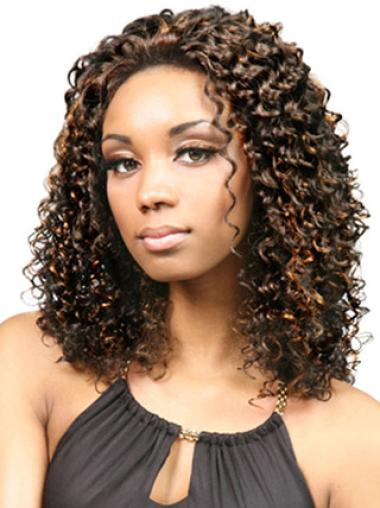 Without Bangs Lace Front Medium Length Wigs African American