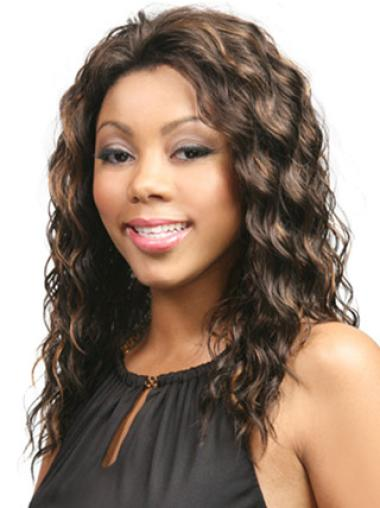 Without Bangs Brown Synthetic Long Wavy Wig Black Women