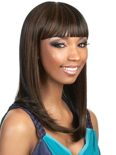 Comfortable Long African American Straight Wigs With Bangs