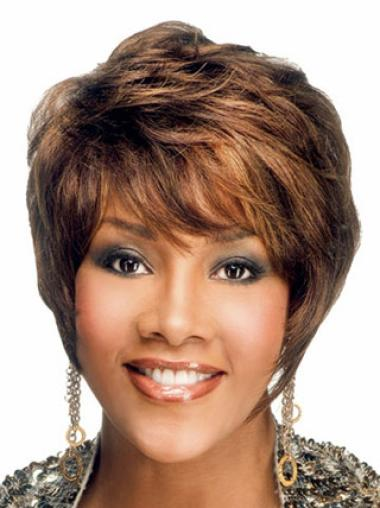 9 Inches Capless Layered Wavy Black Women Short Cut Wigs