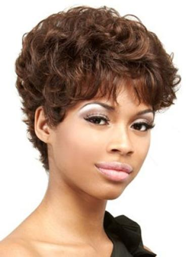 Auburn Boycuts Cropped Indian Remy Hair Curly African Wig