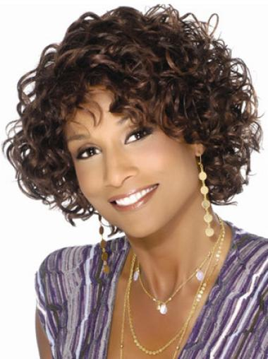 Flexibility Curly Short 10 Inches Black Woman Wigs With Bangs