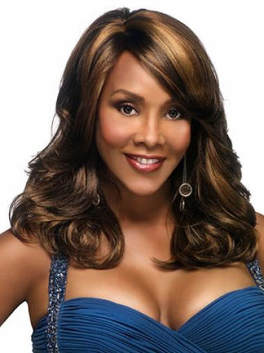 Synthetic Wavy Brown Cheap Wigs For Black Women With Bangs