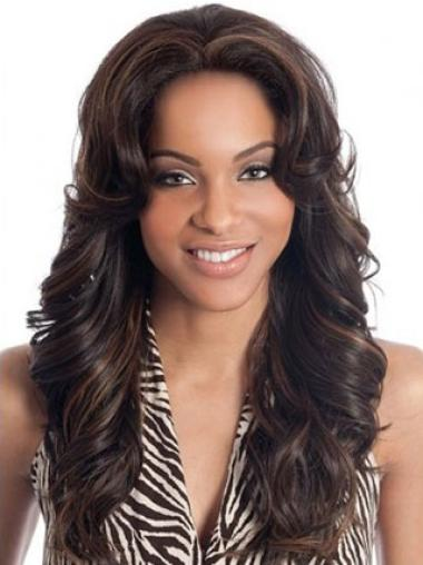 Wavy Lace Front Brown Top African American Human Hair Wig For Black Women