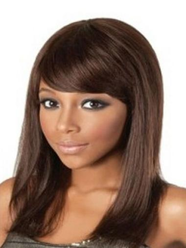 Auburn With Bangs Shoulder Wigs Human Hair African American