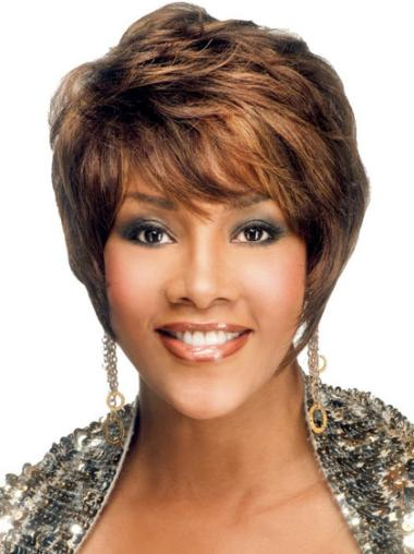 Straight Brown Gorgeous Black Women Afro Short Wig