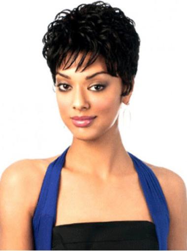 Wavy Capless Synthetic 6 Inches Black Women Wigs