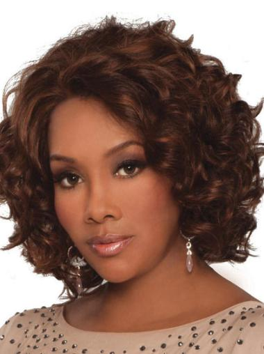 """Best Human Hair African American Curly Wigs 14"""" Lace Front Auburn"""