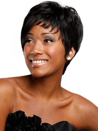 Trendy Straight Boycuts Capless Boycuts Wigs For Black Women
