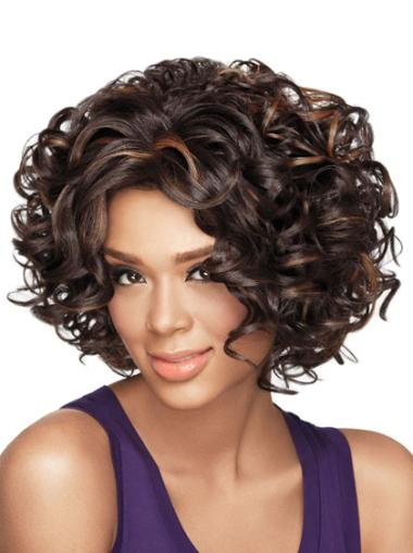 New Black Curly Without Bangs Chin Length Wigs For Black Women