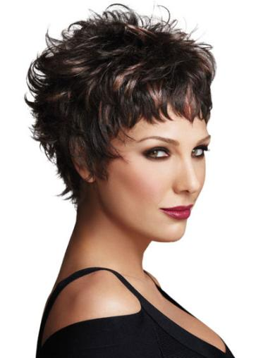 Beautiful Synthetic Boycuts Short Brown Wigs For Black Women