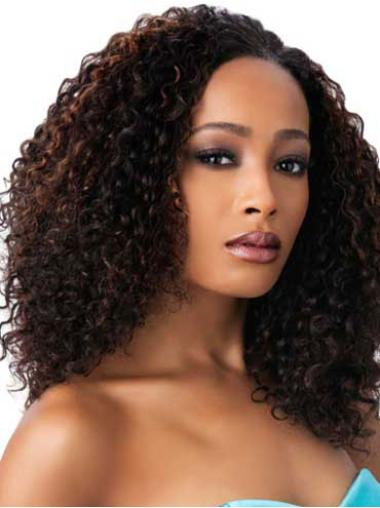 Long Brown Synthetic Cheap Kinky Hair For Black Women Wig