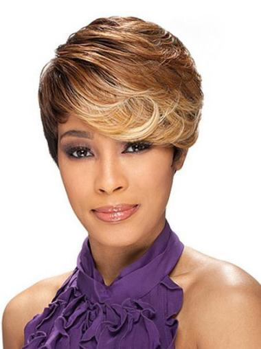 Cropped Brown Sassy Black Women Synthetic Wigs Layered