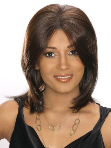 "Modern 14"" Brown Straight African American Human Hair Wigs For Black People"