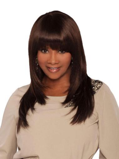 Long Brown Synthetic Yaki Wig For Black Women Online