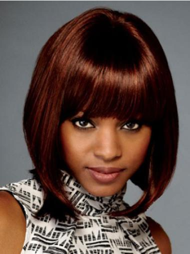 Chin Length Auburn Synthetic Affordable Black Women Wigs Bobs