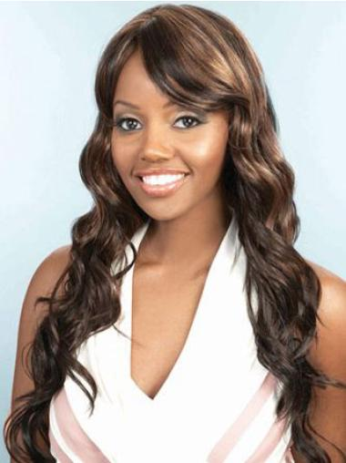 Long Brown Natural African American Capless Layered Wigs