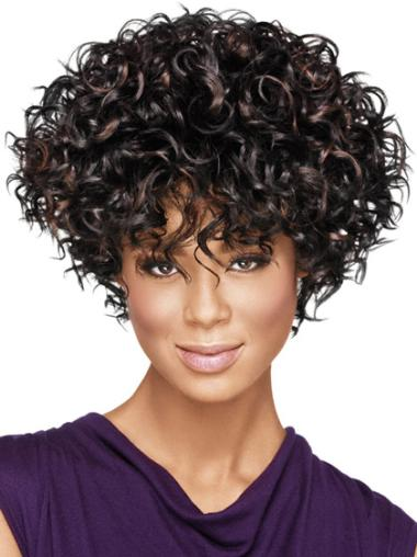 Short Synthetic Suitable Black African Wigs Layered