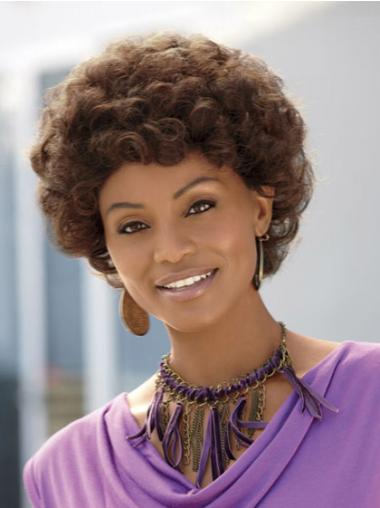 Good Brown Curly Without Bangs Capless Wigs On Black Women