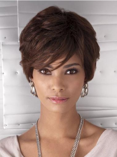 Auburn Wavy Capless Capless Short Wigs For Black Women