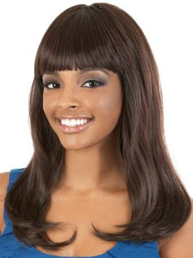 Fashionable Brown Straight With Bangs African American Brown Wigs