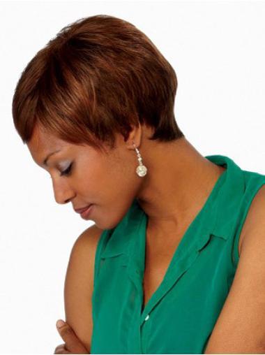Straight Boycuts Lace Front African American Dark Auburn Wigs
