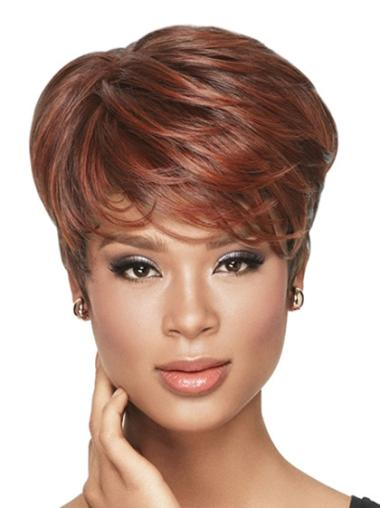 Red Wavy Short African American Capless Wigs