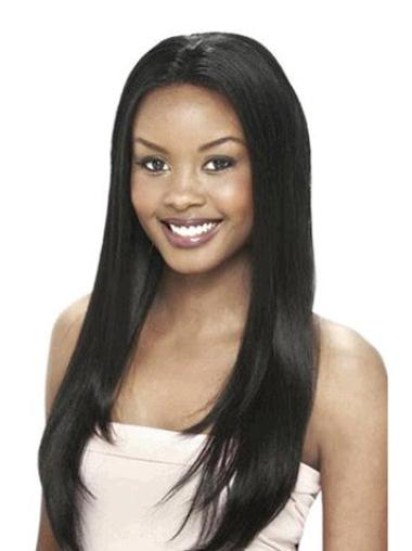 "Fabulous 24"" Lace Front Black Yaki Human Hair Wigs Black Women"