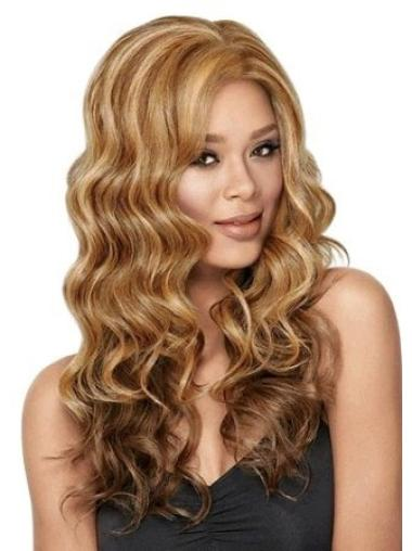 Brown Wavy Synthetic Breathable Lace Front Wig For Black Women