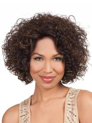 Flexibility Brown Kinky African American Wigs Without Bangs