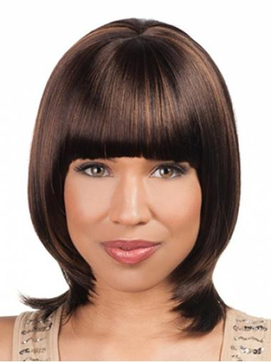 Designed Auburn Yaki African Lace Front Hair Wigs With Bangs