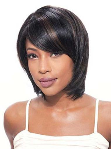 "Flexibility 10"" Lace Front Black Straight Human Hair Wigs Black African American"
