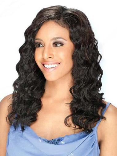 "Designed 16"" Lace Front Black Wavy Human Hair Wigs For Black Women"