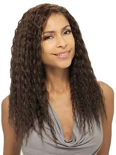 Wavy Brown 18 Inches Indian Human Hair Wigs For African Americans