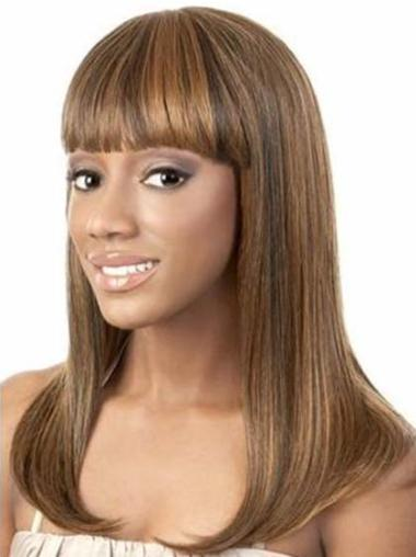 Yaki Brown 14 Inches Wigs For Black Women Human Hair