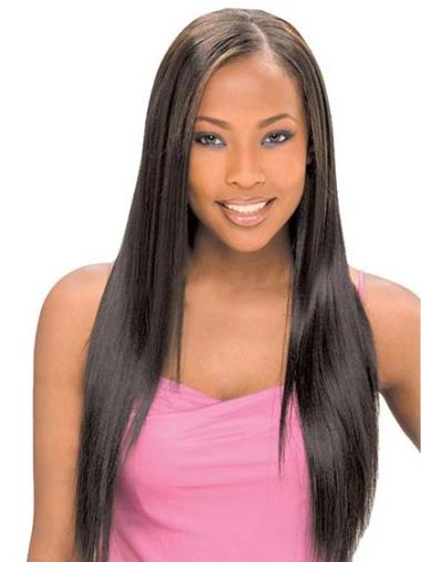 Sassy Black Straight Without Bangs Lace Front Wigs For African American Women