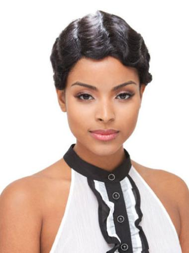 Boycuts Wavy Cheap African American Full Lace Short Human Hair Wigs